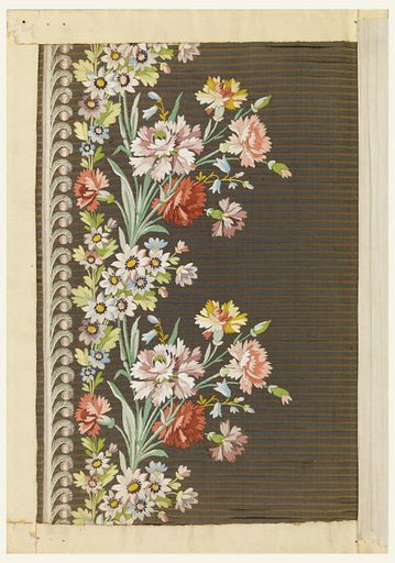 Embroidered sample for men's silk waistcoats, with a design of carnations on a horizontally striped brown ground. Made in: France. Date: 1800s. Record ID: chndm_1932-1-32.