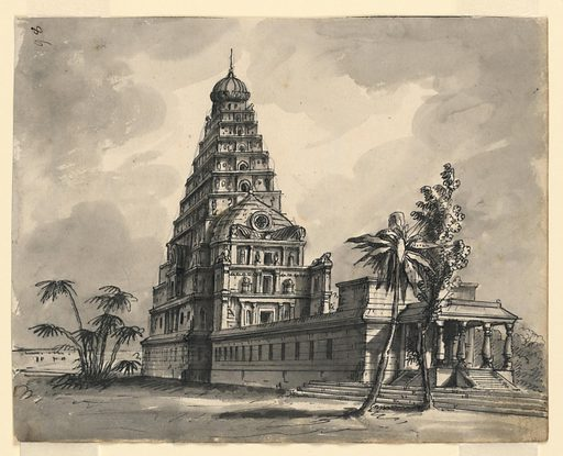 Horizontal rectangle. Indian temple in landscape with palm trees. Designer: Romolo Achille Liverani, Italian, 1809 – 1872. Made in: Italy. Date: 1800s. Record ID: chndm_1938-88-290.
