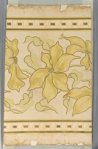 Floral border motif, large scale flower with large petals in pastel chrome yellow and sage green, very delicate shades on ivory field. Flowers and leaves outlined in gilt. A basket weave pattern at top and bottom with gilt bands on either side. This design to be used as a border. Date: 1900s. Record ID: chndm_1939-33-46.