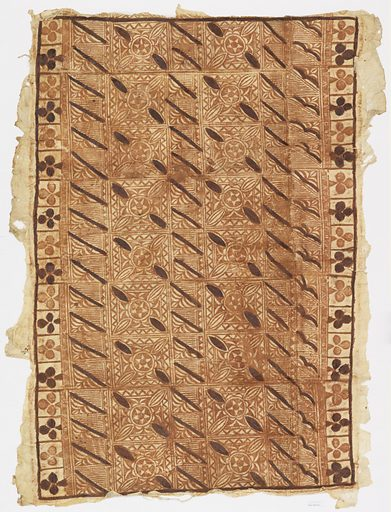 Oblong panel of tapa cloth with a geometric design painted in two shades of brown. Two long borders have squares enclosing trefoils. Made in: Fiji. Date: 1800s. Record ID: chndm_1937-35-40.