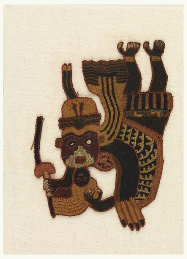 Figure of a dancer with head bent far backwards. Elaborate headdress. Small mask hangs from chin. Staff in hand. Cotton plain weave cloth solidly embroidered in tan, white, red, black, green, dark and light blue, brown and purple. Possibly once part of a large mantle. Made in: Peru. Record ID: chndm_1938-48-6.