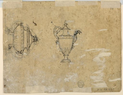 Recto: A woman with a cloth is sitting upon a dolphin; beside it are two mermaids and two small boys. The round basin is sketched. Verso: a pitcher with a cover, a handle in the shape of a maze; the spout is formed by upper part of an eagle. At left, in vertical direction, the tureen with two lion feet, two masks with rings as handles, and a fruit basket as finial. Made in: Italy. Date: 1800s. Record ID: chndm_1938-88-7637.