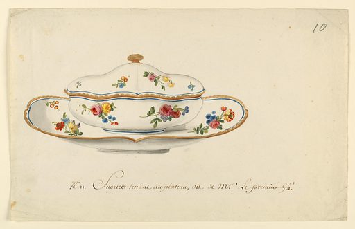 An oval covered sugar bowl with gold knob and matching oval stand. Rim of cover and stand are painted with scalloped band in gold, inside of which is a thin blue band. The body of cover, bowl and inside of stand are painted with floral sprays of yellow and deep pink roses, blue ranuculusses/daisies, and yellow tulips. Made in: France. Date: 1780s. Record ID: chndm_1938-88-8314.