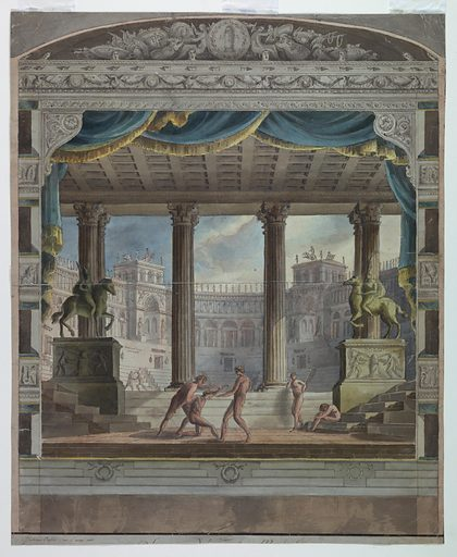 Theater Curtain: View of a Classical Amphitheater, Marsigli-Rossi Theater, Bologna. Made in: Italy. Date: 1800s. Record ID: chndm_1938-88-86.