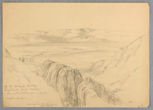 From a high ridge, through a valley, looking toward the Dead Sea, with mountains beyond. Artist after: David Roberts, Scottish, 1796 – 1864. Made in: USA. Date: 1880s. Record ID: chndm_1942-50-446.