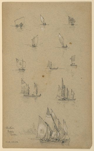 Eight sketches, upper half of small boats, each with one sail. Two sketches, below, of several boats. Bottom, large boats with a church of Venice beyond, left. Made in: USA. Date: 1880s. Record ID: chndm_1948-47-109.