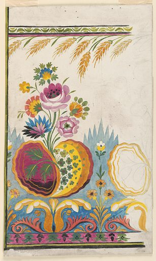 Roses and other fantastical flowers rise from scroll-shaped leaves adjoining a cone-repeat border; sheaths of wheat form top border repeat with a green nut-kernel repeat. Right portion in graphite sketch only. Made in: France. Date: 1800s. Record ID: chndm_1909-29-16.
