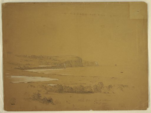 Recto: Horizontal view with shore line making an angle in the middle distance, as houses stand upon sloping and rocky backward part. In the foreground are water troughs and trees, shown in bird's eye view. Made in: USA. Date: 1850s. Record ID: chndm_1917-4-43.