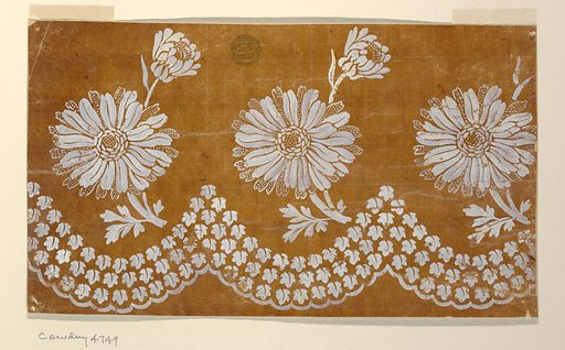Three rows of leaves which are paralleled to the scalloped edge at the bottom. A bough with a fantastical blossom and a bird rises in a curve in each hollow. Made in: France. Date: 1800s. Record ID: chndm_1920-36-120.