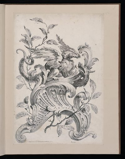 Large scale design with fantastical winged dragon diabolically encircling on acanthus leaf, his tongue extending from an open mouth, the tail intertwining a leafy branch. The dragon is perched on a rococo bracket, which is decorated with raffle leaves and small repetitive motifs. Made in: Paris, France. Date: 1740s. Record ID: chndm_1921-6-213-6.