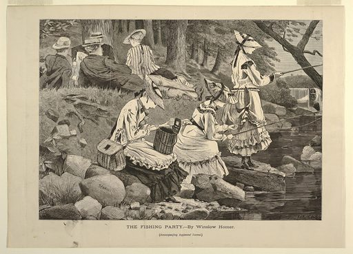To left, at top, three men and one woman recline on grassy back, with trees in background. Stream at right, flowing over mill-dam in background past rocks in foreground where three young women are fishing. Made in: USA. Date: 1860s. Record ID: chndm_1936-43-2.