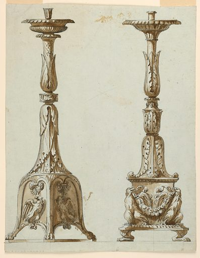 Vertical rectangle. The sketches that appear in 1938-88-566 are fully executed. Two candlesticks shown beside each other. At left, the base of the candlestick contains a compartment with eagles at the base. The shaft has two foliated parts connected by one with a band. At right, at the base are two standing eagles supporting a festoon. The shaft has three foliated parts. At bottom left, a scale. Made in: Italy. Date: 1800s. Record ID: chndm_1938-88-567.