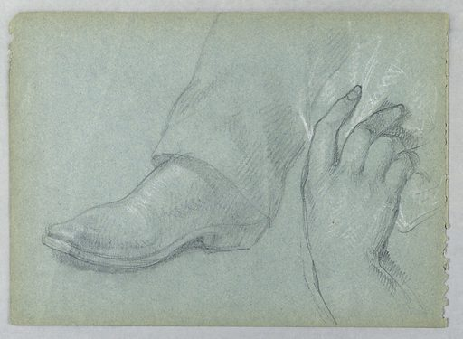 Center, a booted foot. Right, a right hand holding drapery. Verso: A booted foot. Sitter: Peter Cooper, American, 1791–1883. Made in: USA. Date: 1890s. Record ID: chndm_1942-50-525.