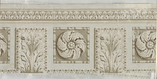 """Soffitt or architectural design with coffers enclosing rosettes alternating with acanthus modillions. Probably meant to be seen from below but back of paper, """"b"""" has traces of underlying sidewall paper. Fragment """"c"""" is portion of this latter paper. Shows arabesque design with flowers. Printed on gray ground. Made in: France. Date: 1800s. Record ID: chndm_1951-16-6-a_k."""