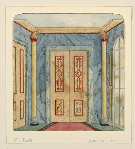 Vertical rectangle. Design for the Royal Pavilion, Brighton. Perspective view of the end of the corridor, with a doorway flanked by half-round columns on the wall facing the spectator, a section of another doorway visible on wall at left, a long window on wall to the right. A blue marbleized design covers the walls. Made in: England. Date: 1810s. Record ID: chndm_1948-40-54.