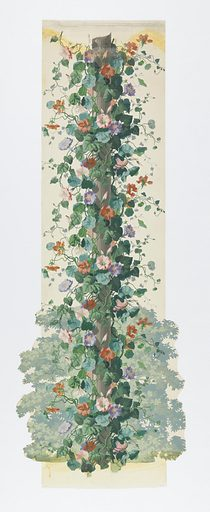 Fluted column shaft around which cluster a profusion of morning glory vines, blossoms and tendrils. A cluster of leafy branches, bottom, background. Many colors on white ground. Made in: Paris, France. Date: 1850s. Record ID: chndm_1955-12-7-a_d.