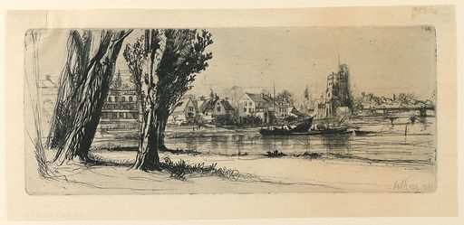 River scene at Fulham, with a bridge at right. Houses in mid-distance. At lower left foreground, four trees flank a road running from right to left. Print maker: Francis Seymour Haden, English, 1818–1910. Made in: England. Date: 1850s. Record ID: chndm_1896-3-392.