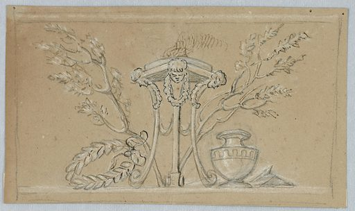 Horizontal rectangle showing a tripod standing in front of two oblique trees and flanked by a wreath and an urn. Made in: Italy. Date: 1830s. Record ID: chndm_1901-39-1286.