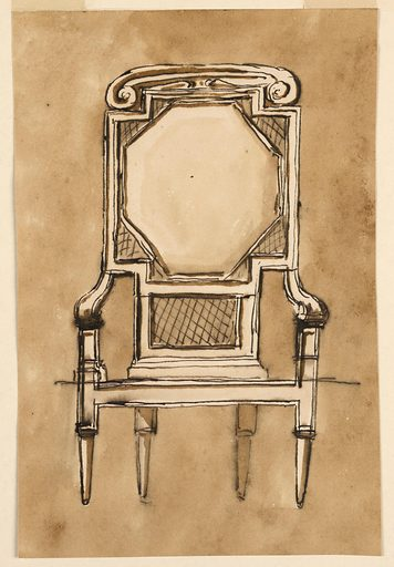 Square-backed chair with octagonal cushion and volutes on crest rail. Made in: Italy. Date: 1780s. Record ID: chndm_1901-39-437.
