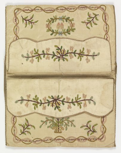 White silk embroidered in chain stitch in designs of birds, flowers, and flaming hearts within borders. Made in: France. Date: 1800s. Record ID: chndm_1923-22-80.