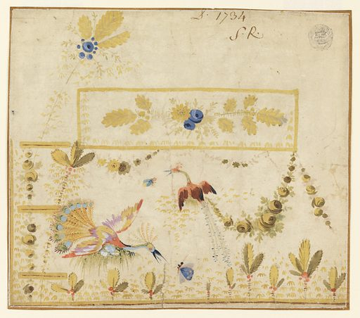 Design for the embroidery of the left bottom part of a man's waistcoat or gilet featuring a pocket. The design features two fantastical peacocks preying for insects, plants, and festoons. Blue flowers and yellow leaves decorate the rectangular pocket flap, and a branch with blue flowers and yellow leaves rises above and to the left of the flap. Design includes buttonholes on the left. Verso: five yellow birds with yellow leaves rising from two of them. Made in: Lyon, France. Date: 1770s. Record ID: chndm_1920-36-83.