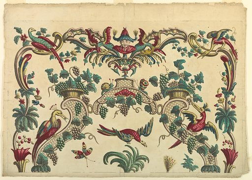 At top and sides is a border composed of scrolls, flowers, birds, and a Chinese mask flanked by dragons at top center. Inside is an arch composed of lattice work scrolls on which grape vines grow. Three birds on and under it. Tops of two plumes. Broken bordering line, bottom. Made in: France. Date: 1770s. Record ID: chndm_1921-22-258.