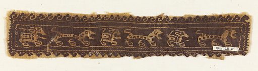 Narrow band fragment in dark brown and natural linen shows a procession of animals moving left to right. The animals, which alternate between a long-bodied spotted animal and a more compact animal with long ears and a tail, are enclosed by a double guard border. Outside this border is a scrolling wave pattern. Made in: Egypt. Record ID: chndm_1921-29-2.