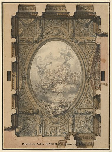 """An oval central panel shows the Apotheosis of Ambrose Spinola, hero of the Battle of Breda. He is shown being born to heaven in a chariot. The remainder of the ceiling is divided into segmented panels with arabesques and putti as decoration. In the composition two medallions bear the Salon Spinola Execute a Genes."""" In the composition two medallions bear the initials of Ambrose Spinola and Cristoforo Spinola. Made in: France. Date: 1770s. Record ID: chndm_1911-28-292."""