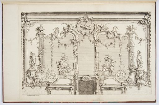 Interior with large mirror, fireplace, clocks, statues of nude figures, candles; two settees flank fireplace. Made in: Germany. Date: 1750s. Record ID: chndm_1921-6-221-4.