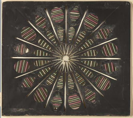 Magic lantern slide, optical toy. On black field, a sixteen-pointed star within a surrounding pierced circle at center. Outside circle, sixteen rays composed of tear-shaped openings filled with transverse stripes of yellow, green, and black, and of alternating ovals and lozenges similarly filled with stripes of pink, green, and black. Made in: Savoy, France. Date: 1770s. Record ID: chndm_1937-18-11.