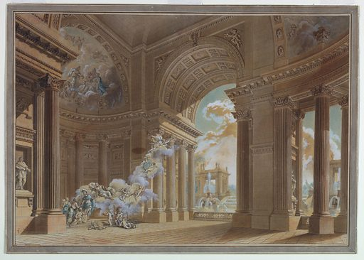 A large loggia shown from an oblique angle. A large arch opens up into the outdoors. A fountain and other buildings are visible just beyond the arch. The interior of the loggia includes two large apses with half domes. The walls are lined with fluted columns and pilasters. Inside, at left, is a scene in which a hero in classical attire receives a wreath from Fortune and another gift from Architecture who is flanked by Painting and Sculpture in the apse at left. Attributes of Music, Science, Justice, Commerce, Seafaring, and three putti are shown before the apse. Fortune is accompanied on her clouds by putti; two carry a medallion with the monogram V S, and by Fame. Apollo and the Muses are represented in the courts of the apse. Made in: France. Date: 1770s. Record ID: chndm_1911-28-251.