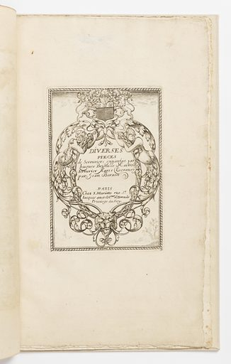 Vertical rectangle showing title and dedication within a cartouche composed of interlacing lines. At top center, the Longuet coat-of-arms and mask. The upper text remains the same as the 1662 edition (see: 1921-6-261-1). The lower text reads: A PARIS / Chez Meriette rue St. / Jacques aux Col.nes d'Hercule Privilege du Roy. At bottom, a faint lion mask and landscape. Made in: France. Date: 1660s. Record ID: chndm_1921-6-486-2.