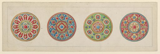 Bottom drawing in image. Four disks from left to right: 1st disk: Blue with gold edge; Red petal shaped pattern stemming from inner green circle; Inner circle had a four pedaled flower with red center; surrounding inner circle is and alternating diamond and circle pattern. Made in: Rome, Italy. Date: 1860s. Record ID: chndm_1938-88-6355.