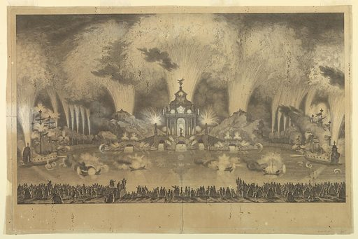 Spectators look across a lake at a temple from which issue fireworks. Other fireworks gush forth from rocky masses to the side and from two mock warships in the middle distance. At top of the temple are the arms of the betrothed. Made in: France. Date: 1740s. Record ID: chndm_1931-94-68.
