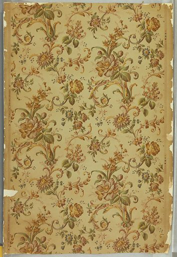"""Full width printed in four colors: blue, violet, yellow and neutral red, with vine pattern composed of roses, tube-roses, lilac, forget-me-not and camellias, with acanthus and other leaves. Color register marks on right margin; on left margin: """"The Camellia"""" / Sanitary and Washable. Date: 1900s. Record ID: chndm_1938-50-11."""