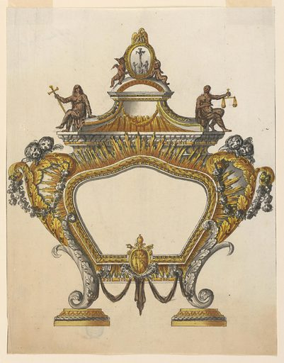 Vertical rectangle. Design for an altar tablet with curved outlines, supported by two volutes of leaves standing upon bases. Below, in the center of the frame, the coat of arms of Pope Pius VII. Cherubim are on top of the volutes at the sides. Above an elaborated pediment, with allegorical figures of Faith and Justice sitting and on the top a relief with Christ on the cross, with the Virgin Mary, St. John, and St. Magdalene. The relief is supported by two angels and has a pelican at the top. Made in: Rome, Italy. Date: 1810s. Record ID: chndm_1938-88-610.