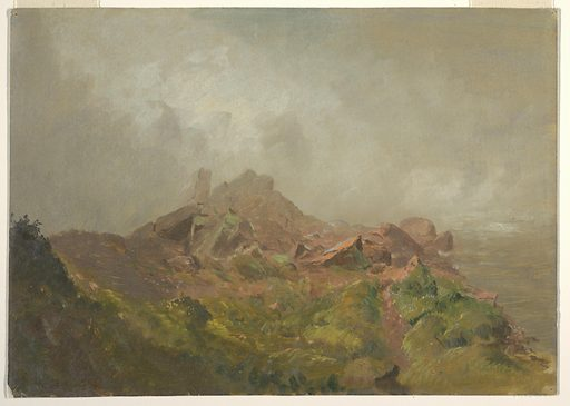 A rocky crag juts out from gray mist in the background, while verdant growth fills the foreground. Made in: New York, USA. Date: 1850s. Record ID: chndm_1917-4-326-a.