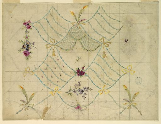 """Cards fastenedd together by bow knots form irregular lozenges. A standing bunch of feather leaves and a lilac bough, horizontally disposed, alternate in those of the first row. The lozenges of the second and fourth rows show two alternating floral designs in oblique strips. Flower garlands hang in the lozenges of the third row. Somewhat more than one repeat is shown. Squared with graphie in opposite direciton. Verso: blotter of a sketch of a design of small boughs in rows. Written in graphite, bottom left: """"8 fleurs"""". Part of a listing as at the left edge. Made in: France. Date: 1780s. Record ID: chndm_1920-36-71."""