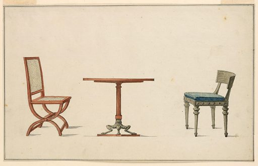 Circular table, fluted column support terminating in bent goat legs. Flanking table, left chair with X-shaped frame, cane seat and back. Right: chair, slightly sloping back rail, blue and ochre patterned seat cushion, tapered legs. Attributed to: Georges Jacob, French, 1739–1814; Henri Jacob, 1753–1824. Made in: France. Date: 1780s. Record ID: chndm_1921-6-137-2.