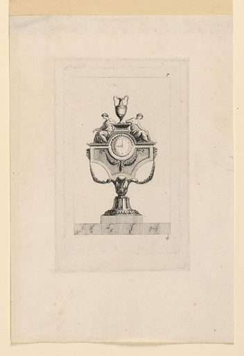 The dial is inserted in a piece of a kind of attic, upon which two seated girls flank a pedestal with a two-handled vase. A capital upside down and a calyx form the stand. Print maker: Juste-Nathan Boucher, French, 1736 – 1782. Made in: France. Date: 1770s. Record ID: chndm_1921-6-167.