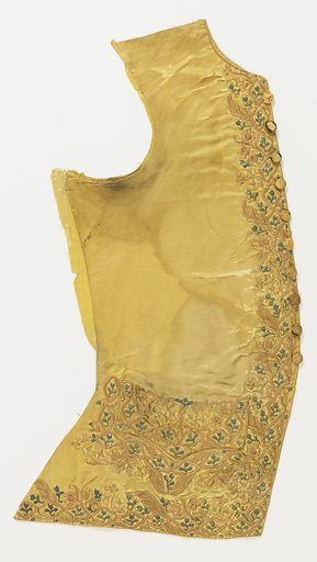 Pair of waistcoat fronts with curved hems and flap pockets. Yellow silk satin, embroidered in satin stitch on front, lower and pocket edges with a dense, small-scale floral design in pale green, yellow and pinks. Badly damaged. Made in: France. Date: 1770s. Record ID: chndm_1931-88-97-a_b.