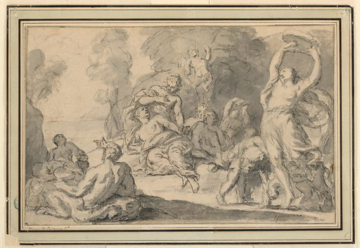 Maenads resting in a wood at the edge of a mountain lake. At far right, a woman dances holding a tambourine over her head. A satyr reclines at left. A putto flies overhead. Made in: France. Date: 1740s. Record ID: chndm_1931-64-261.