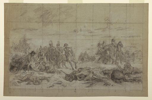 This drawing is squared in preparation for transfer; the majority of the figures merely blocked in. Just left of center Napoleon is shown astride a horse. His right arm extended to the left of the drawing to a group of three figures gathered around a man on the ground. Behind them a group of figures with a rider with his back turned. On the right of the drawing a larger group of soldiers and horses, struggling. The foreground shows three groupings of wounded and killed. Made in: France. Date: 1810s. Record ID: chndm_1938-57-1621.