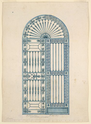 Vertical rectangle. An arched, iron gate divided into three sections: a semi-circular panel above and two vertical leaves below. The semi-circular section has a half-rosette in the lower center with balusters radiating from it like spokes of a wheel. The framing arched band shows a repeating palmette motif in the the left half and a Greek key motif in the right half. These motifs are respectively used in the framing borders of the left and right leaves. The right leaf is divided into two main panels and a small base panel. The two oblong panels contain vertical round bars; the lower base panel is a solid rectangle. The right leaf is framed on all sides and between the two oblong panels with the repeating Greek key motif. The left leaf is divided into two main panels, each of which consists of an oblong panel with baluster-shaped bars. These two panels are divided by a band, subdivided into three compartments, with alternative suggestions for the decoration of the larger panels. A smaller upper and lower panel is decorated with a column capital-like motif. The left leaf is framed on four sides by a band of palmettes. Made in: Italy. Date: 1810s. Record ID: chndm_1938-88-568.