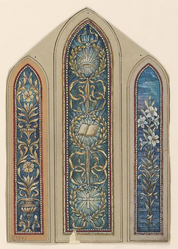 Three long, narrow panels, with pointed arched tops. Left: Formed foliated design. Made in: USA. Date: 1900s. Record ID: chndm_1914-38-91-b.
