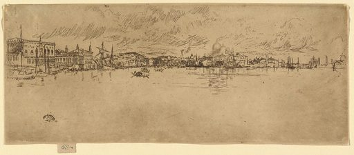 Horizontal rectangle. From under a grey cloud, Venice extends along the curving bay, from the Doge's Palace, left, far beyond the Salute. Occasional gondolas and other boats. Made in: USA. Date: 1880s. Record ID: chndm_1961-88-4.