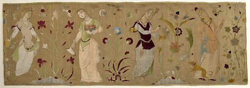 Horizontal rectangular panel with a gold metallic ground and polychrome silk velvet figures of four women separated by large flowering plants. From left to right: a woman holding a long-necked jar in one hand while the other holds up her skirt, in which she has gathered fruits; a woman holding a pitcher in one hand and cradling a large bowl or basin in the other; a woman wearing gloves, holding a bird of prey in her left hand while about to hood the bird with her right; a woman with a long stick with which she is prodding a hound held by a lead in her right hand; the hound is straining the lead. Two of the flowering plants grow at the edge of ponds, one rests on a cloud form and the other grows among the rocks. The iris, carnation, and poppy are recognizable. Clouds and butterflies dot the sky. In shades of blue, green, yellow, reds, and neutral and flesh tones on a gold metallic ground. Slightly more than one unit of the repeat is present; the pattern fills the width of the fabric and is oriented perpendicular to the warp. Made in: Persia (present day India or Iran). Date: 1610s. Record ID: chndm_1977-119-1.