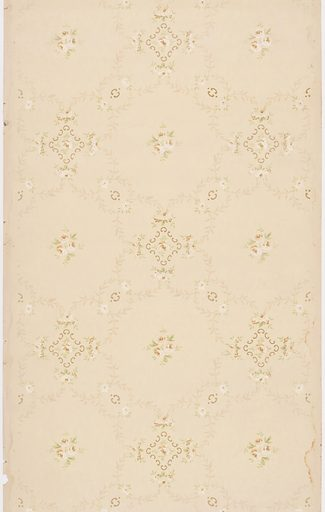 Repeating pattern of white rose blossoms contained within auricular diamond shaped border and surrounded by floral nosegays and chains of foliate festoons. Design is printed in khaki, white and light brown on beige ground. Date: 1910s. Record ID: chndm_1979-91-1037.