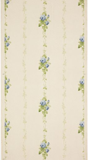 Alternating vertical vines of closed and open blue flowers. Background is covered in small white mica dots. Ground is white. Printed in blues, greens, and white mica. Date: 1910s. Record ID: chndm_1979-91-1152.