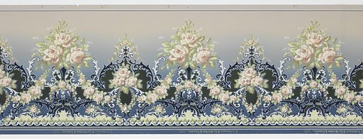 A repeating design of alternating small and large bouquets of pink and white roses hanging from a white and midnight blue trellis design upon an increasingly lighter blue background. Made in: USA. Date: 1910s. Record ID: chndm_1979-91-26.